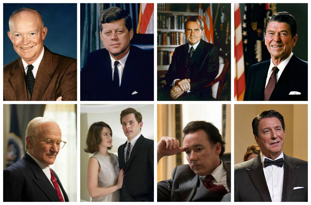 Robin Williams als Dwight D. Eisenhower, James Marsden als John F. Kennedy; Liev Schreiber als Lyndon B. Johnson; John Cusack als Richard Nixon und Alan Rickman als Ronald Reagan in 'Der Butler'