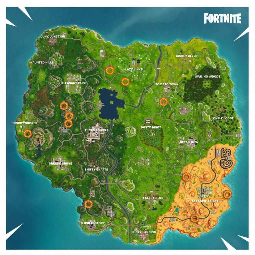 map zu den flaming hoops locations fortnite - feuer ringe fortnite