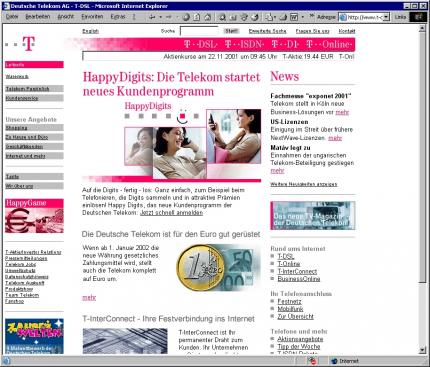 Die Website der Telekom.
