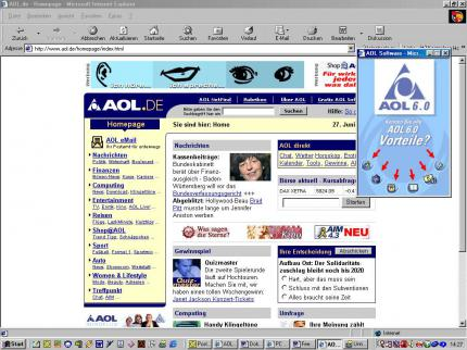 Die AOL-Website.