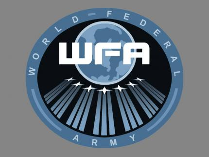 Das Logo der WFA (World Federation Army) in Outcast 2.