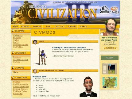 Die Mods-Sektion der Civ 3-Website