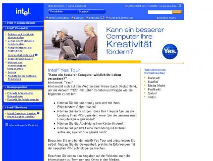 "Die Website zur ""Yes Tour"" von Intel"