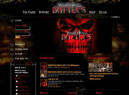Die offizielle Website zu Warrior Kings: Battles.