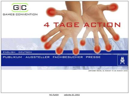 Die Website zur Games Convention 2003.