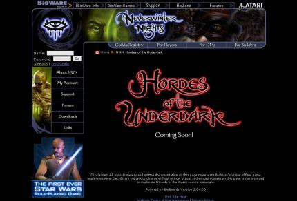 Die offizielle Website zu Neverwinter Nights: Hordes of the Underdark.