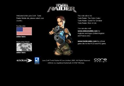 Die Tomb-Raider-Mobile-Website.