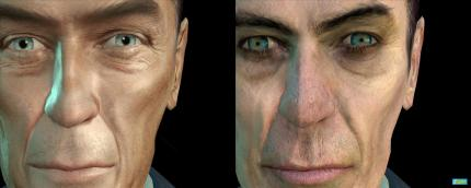 Half Life 2 (Valve) Links: Der G-Man mit den Cinematic Mod-Texturen. Rechts Valves Original-Version.
