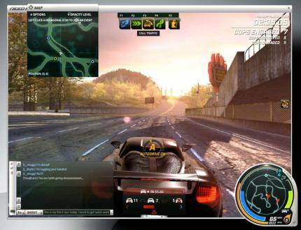 So sieht das Interface in Need for Speed: World Online aus.
