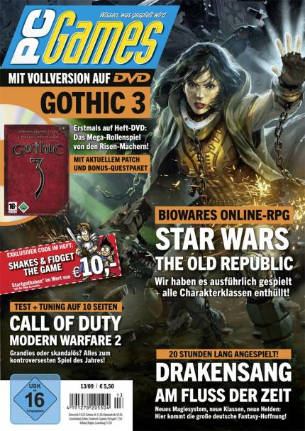 Die neue PC Games 13/09: Mit der Titelstory Star Wars: The Old Republic und Vollversion Gothic 3.