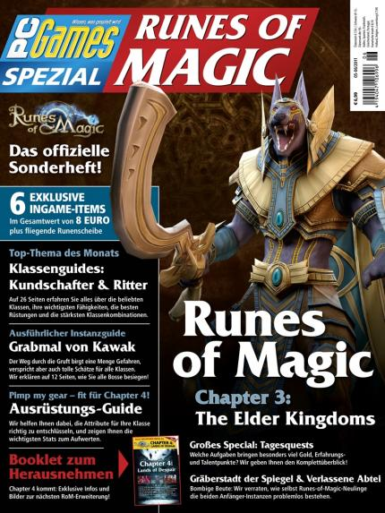 Das Titelbild der neuen PC Games Runes of Magic 05-06/11 (seit 13.04. am Kiosk).