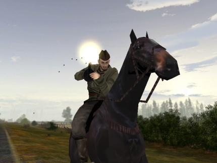 Reitbares und 'bewaffnetes' Pferd.