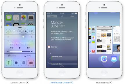 Notification-, Control-Center und Multi-Tasking in iOS 7.