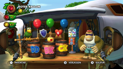 Donkey Kong Country: Tropical Freeze - Komplettlösung. In Funky Kongs Shop gibt es viele nützliche Items