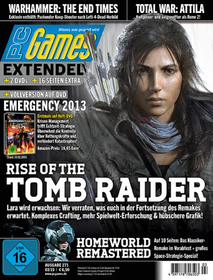 PC Games 03/15 mit Vollversion Emergency 2013 + Titelstory Rise of the Tomb Raider