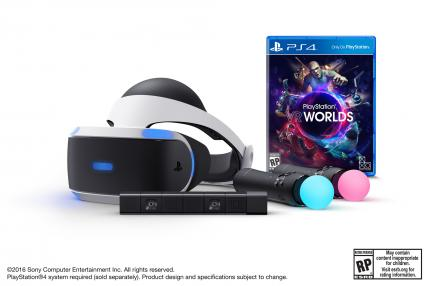 PlayStation VR, die PlayStation Kamera, zwei PlayStation-Move-Controller und das SPiel PlayStation VR Worlds.