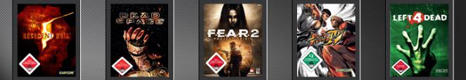 Resident Evil 5, Dead Space, F.E.A.R. 2: Project Origin, Street Fighter 4, Left 4 Dead