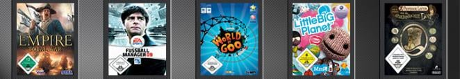 Empire: Total War, Fußball Manager 09, World of Goo, Little Big Planet, Professor Layton