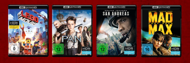"4K Ultra HD Blu-ray-Cover von ""The LEGO Movie"", ""Pan"", ""San Andreas"" und ""Mad Max: Fury Road""."