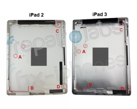 So soll das iPad 3 (rechts) von innen - Blick auf die Innenseite der Rückseite - aussehen. Links zum Vergleich das iPad 2. Womöglich stammt die Hülle aber auch vom iPad 2 HD. (3)