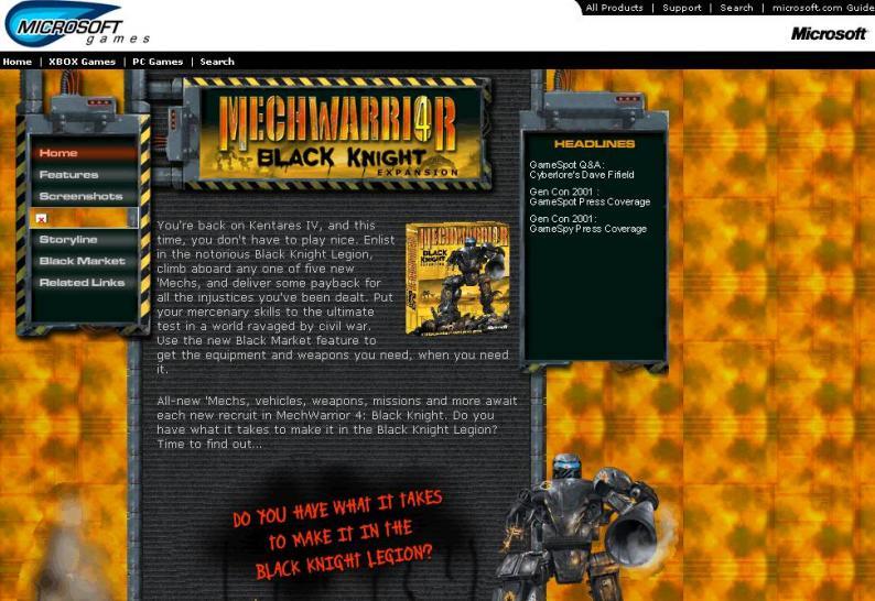Mechwarrior 4: Black Knight - Website-Start + Screenshots