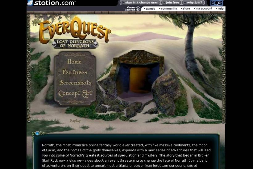 Die offizielle Website zu Everquest: Lost Dungeons of Norrath.