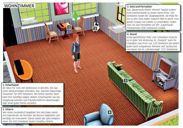Die Sims 3: Optimale Einrichtung Für Eine Junggesellen Behausung (1)  [Quelle: PC Games]