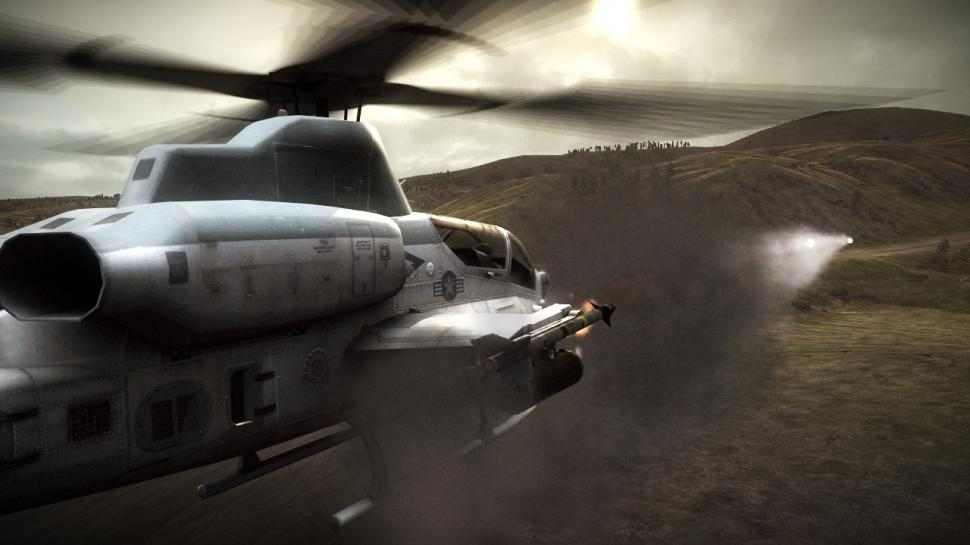 Operation Flashpoint 2: Ein Super Cobra-Helikopter greift an.