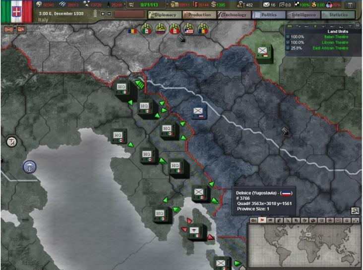 Screenshots aus Hearts of Iron 3.