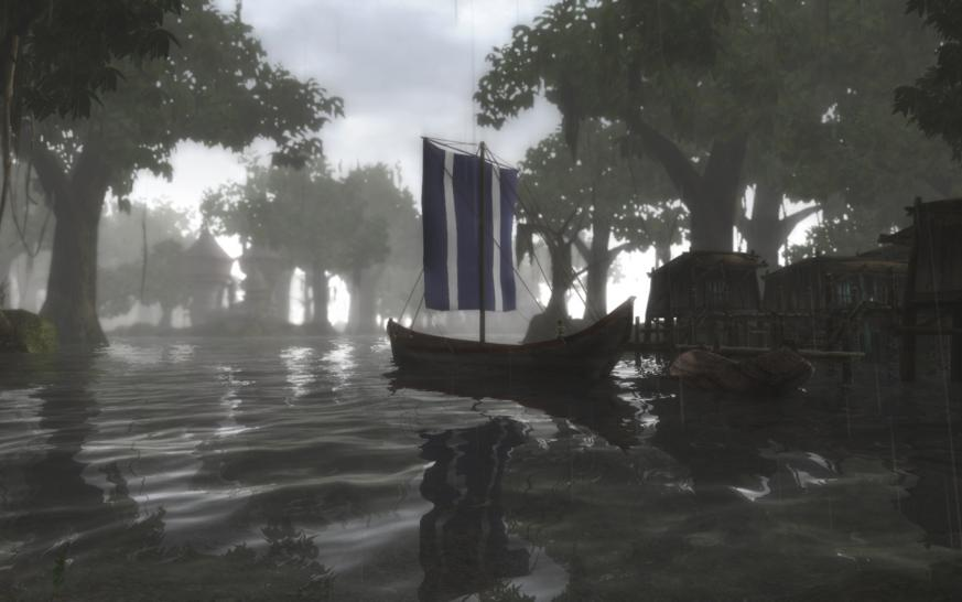 "The Elder Scrolls 3: Morrowind mit einer beeindruckenden Wasser-Darstellung und und sehenswerter Postkarten-Optik. Beide Screenshots stammen vom PC Games-Communitymitglied ""BlackFog"". (1)"