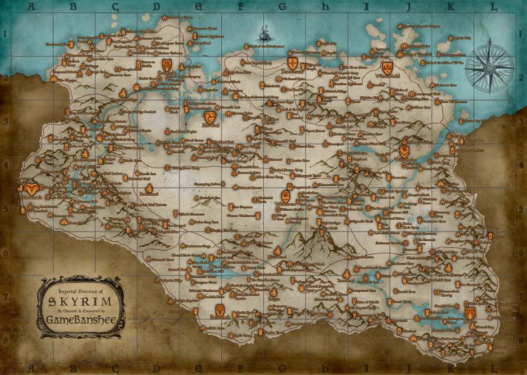 skyrim karte aufdecken Skyrim: Riesige Karten mit wichtigen Orten zum Ausdrucken