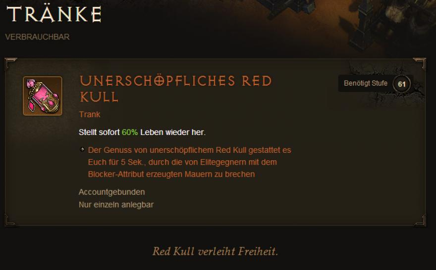 "Diablo 3: Reaper of Souls - Easter Egg ""Kulle-Aid"" - Red Kull"