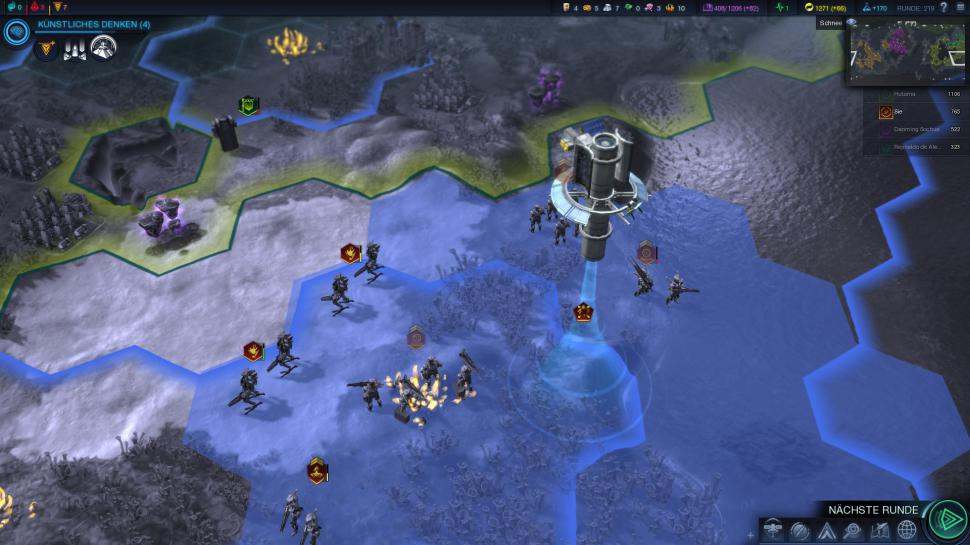 Civilization: Beyond Earth - Volle Überwachung: In der blau schimmernden Orbitalebene stationieren wir nützliche Satelliten über dem Schlachtfeld. Die Satelliten übernehmen dabei unterschiedlichste Aufgaben.