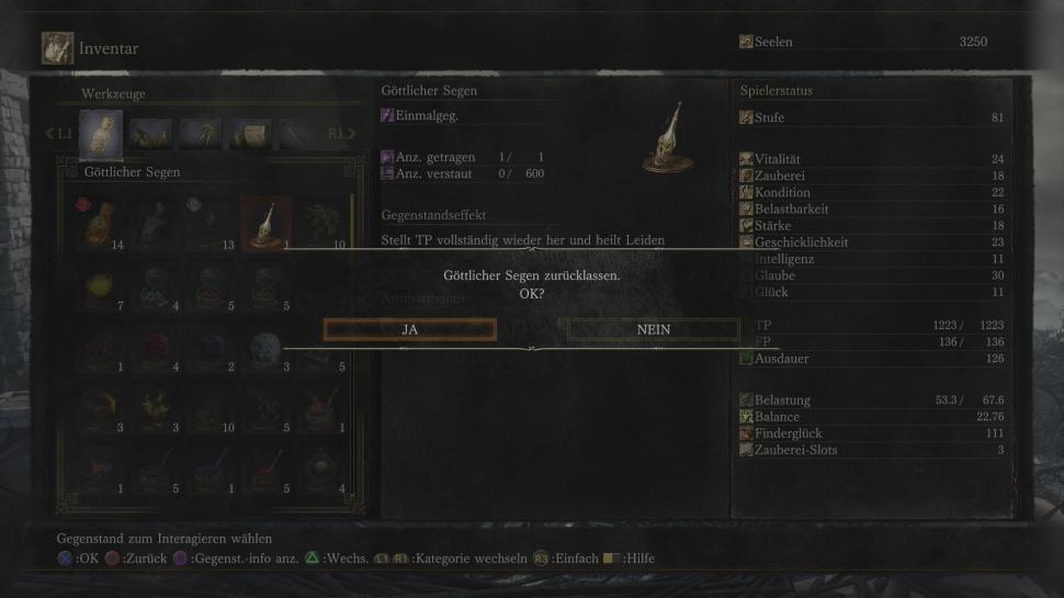 Dark souls item liste zum tausch bei der krähe