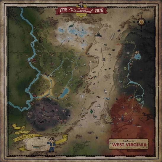Fallout 76: Map von West Virginia - das ist die Spielwelt