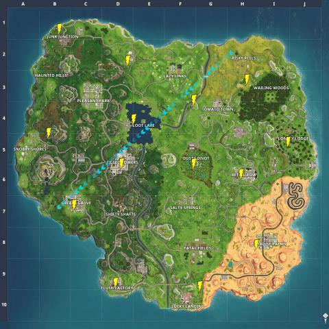 Fortnite Map Mit Fundorten Der Schwebenden Blitze Tipp