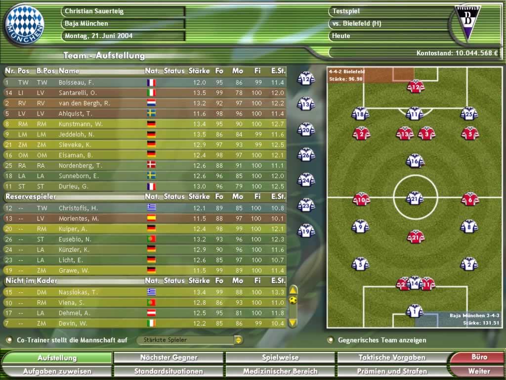 Kicker Manager 2004 Spielbare Demo