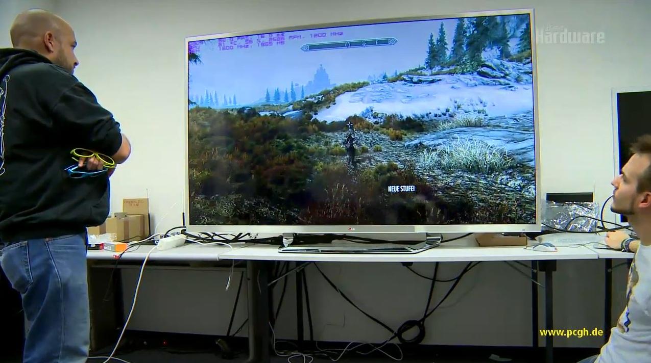 4k fernseher von lg im ersten test exklusives video zeigt skyrim und avatar auf einem ultra hd. Black Bedroom Furniture Sets. Home Design Ideas