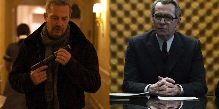 "Kevin Costner in ""3 Days to Kill"" (2014) und Gary Oldman in ""Dame König As Spion"" (2011)"