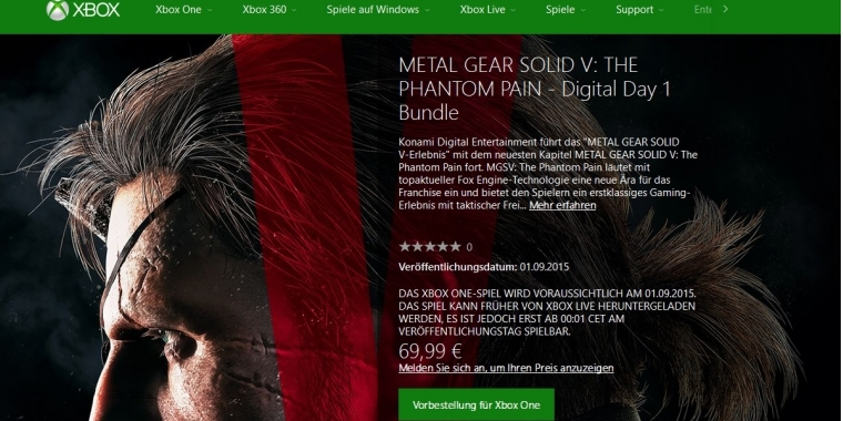 MGS 5: Das Preloading der Xbox One-Version kann beginnen.