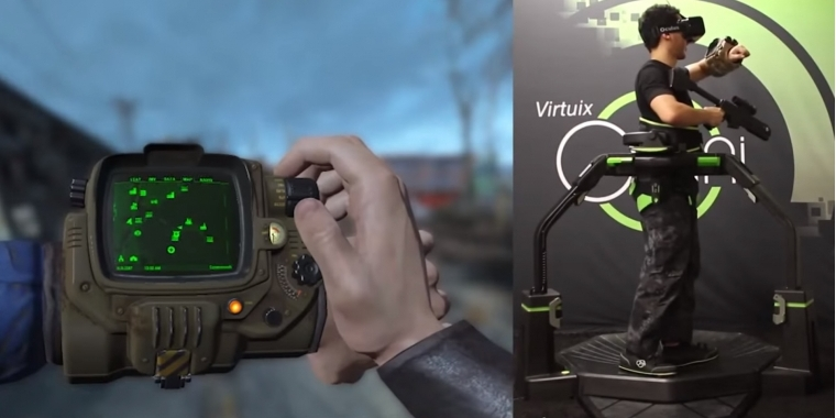 Fallout 4 mit Virtuix Omni: Ein Video zeigt die VR-Technik in Aktion.