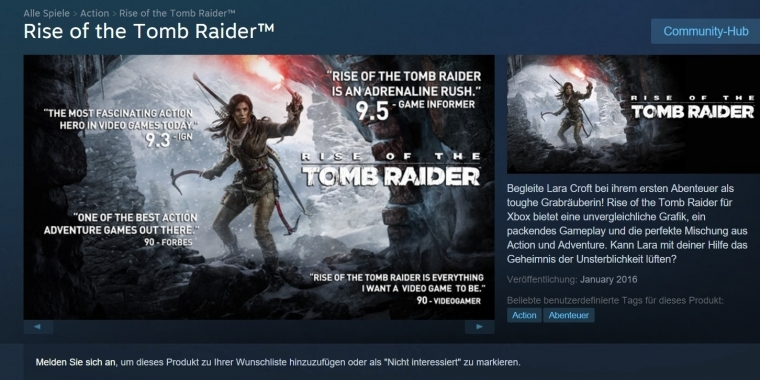 Rise of the Tomb Raider bei Steam