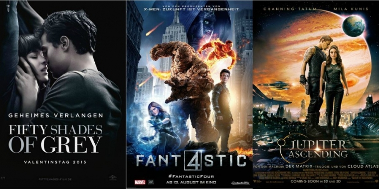 "Links: Kinoplakat zu ""Fifty Shades of Grey"" / Mitte: Kinoplakat zu ""Fantastic Four"" / Rechts: Kinoplakat zu ""Jupiter Ascending"""