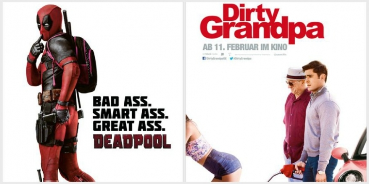 "Links: Filmposter zu ""Deadpool"" / Rechts: Filmposter zu ""Dirty Grandpa"""
