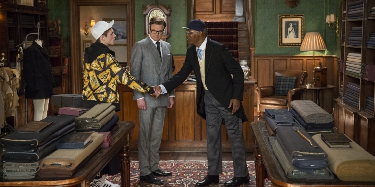 "(v.l.n.r.) Taron Egerton als Gary ""Eggsy"" Unwin, Colin Firth als Harry ""Galahad"" Hart und Samuel L. Jackson als Richmond Valentine in ""Kingsman: The Secret Service""."