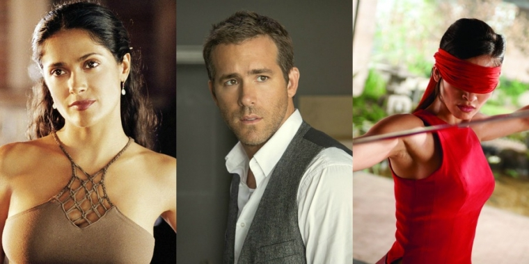 "Links: Salma Hayek in ""After the Sunset"" (2004) / Mitte: Ryan Reynolds in ""Self/less - Der Fremde in mir"" (2015) / Rechts: Elodie Yung in ""G.I. Joe - Die Abrechnung"" (2013)"