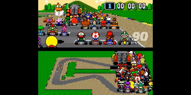 Ein Video zeigt 101 Spieler in Super Mario Kart.