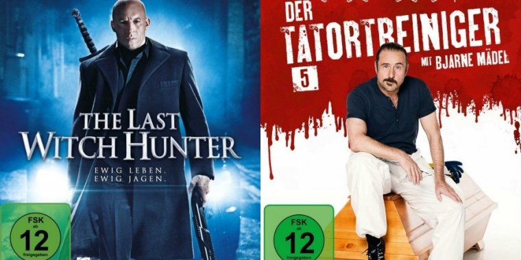 "Links: ""The Last Witch Hunter"" (2015) / Rechts: ""Der Tatortreiniger 5"" (2015)"