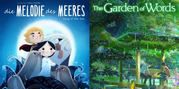 "Filmplakat zu ""Die Melodie des Meeres"" und ""The Garden of Words"""