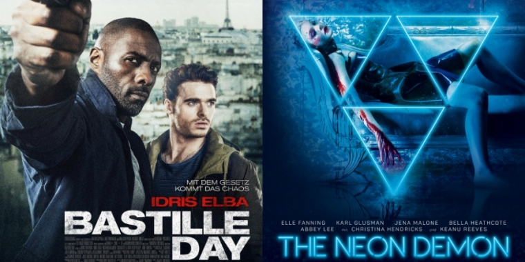 "Filmposter zu ""Bastille Day"" und ""The Neon Demon"""